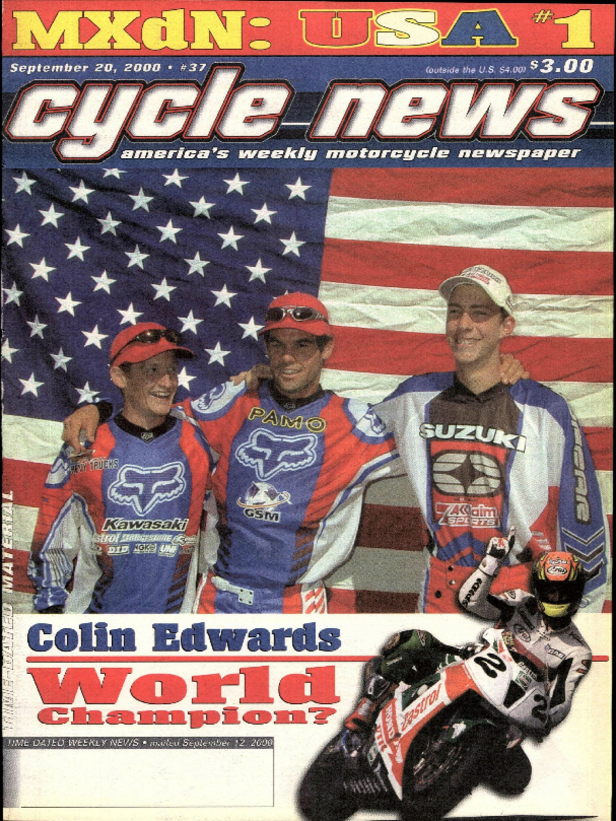 The 2000 MXdN  Cycle News  cover story that very nearly wasn't.  Steve Bruhn photo