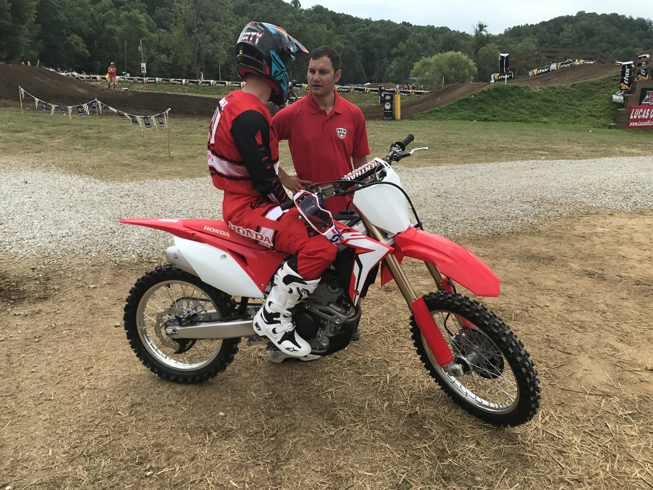 The day after the unveiling, Honda Brand Ambassador Andrew Short debuted the bike in action on the Loretta Lynn Ranch track, then stopped for an interview with announcer Jason Weigandt.