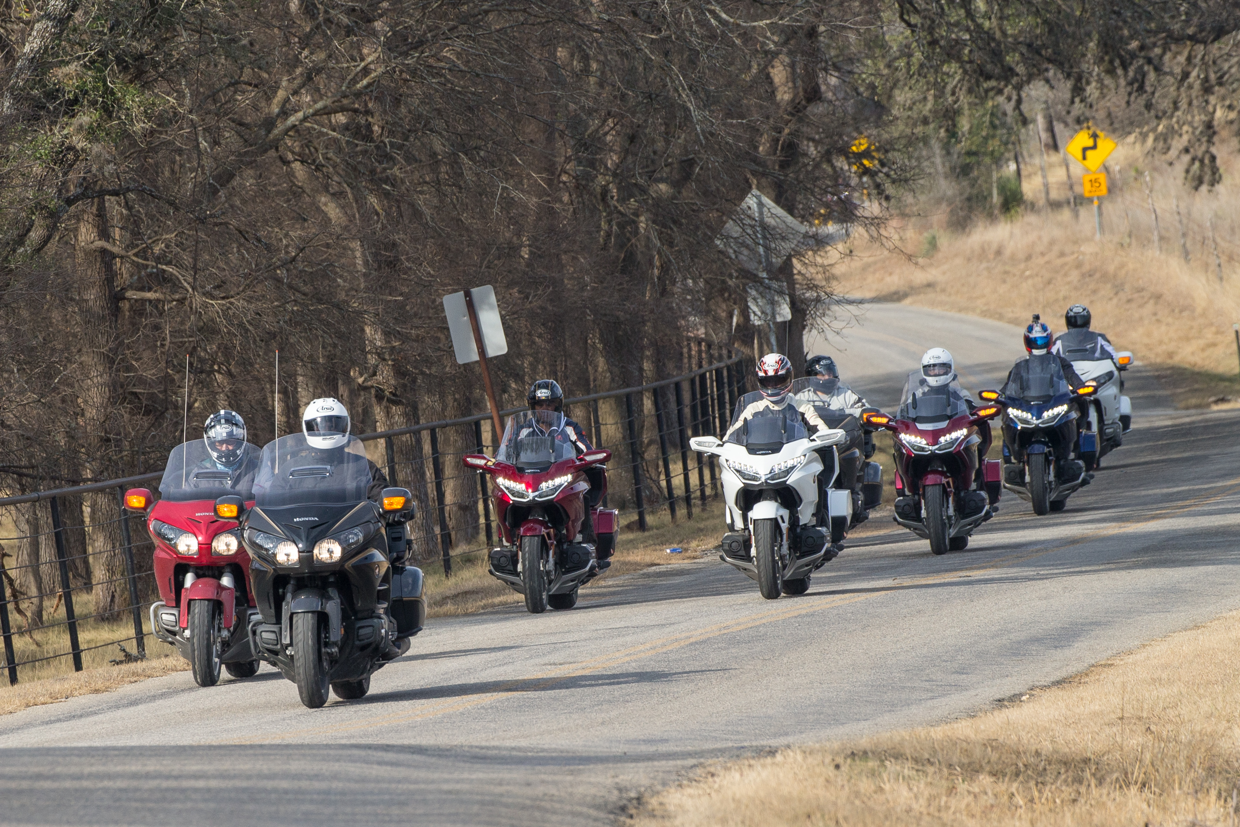 For the media ride event, we created a route in Texas Hill Country, whose famous roads provided opportunities to showcase the Gold Wing's sporty performance.  Image: Kevin Wing