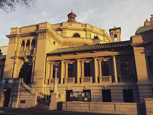 The National Library lit up by the morning light.  #capetown #attorney_cpt #architecture #mothercity #library