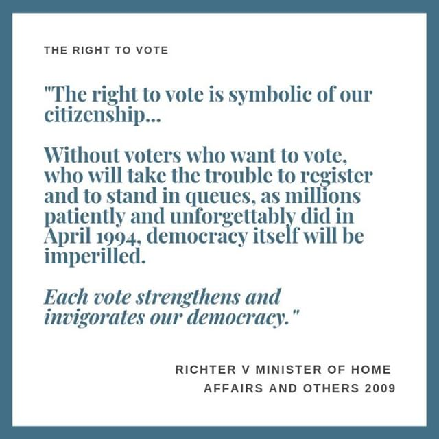 Happy New Year! ⠀ ⠀ Our New Year's Resolution for 2019 is simple: we want to share with you some of the important judgments and statutes that have shaped South Africa. ⠀ ⠀ It's an election year, so we thought we'll start with a judgment dealing with your right to vote, namely Richter v the Minister of Home Affairs. It deals with your right to vote and, specifically, your right to vote even when you are temporarily outside of South Africa. ⠀ ⠀ We realise that reading a 50-page judgment is probably not how you would like to start 2019, but at the very least, we urge you to check whether you are registered to vote. ⠀ ⠀ The full judgment (and a summary), as well as a link to the IEC's website (where you can check if you're registered to vote), can be found on our website's blog (link in bio). ⠀ ⠀ IMPORTANT: the IEC's final voter registration weekend will take place on the weekend of 26-27 January 2019. Don't miss it. ⠀ ⠀ ⠀ ⠀ ⠀ ⠀ ⠀ #righttovote #capetown #humanrights #socialjustice #electionyear #democracy #law #SouthAfrica #registertovote #election #elections #newyear #newyearsresolutions