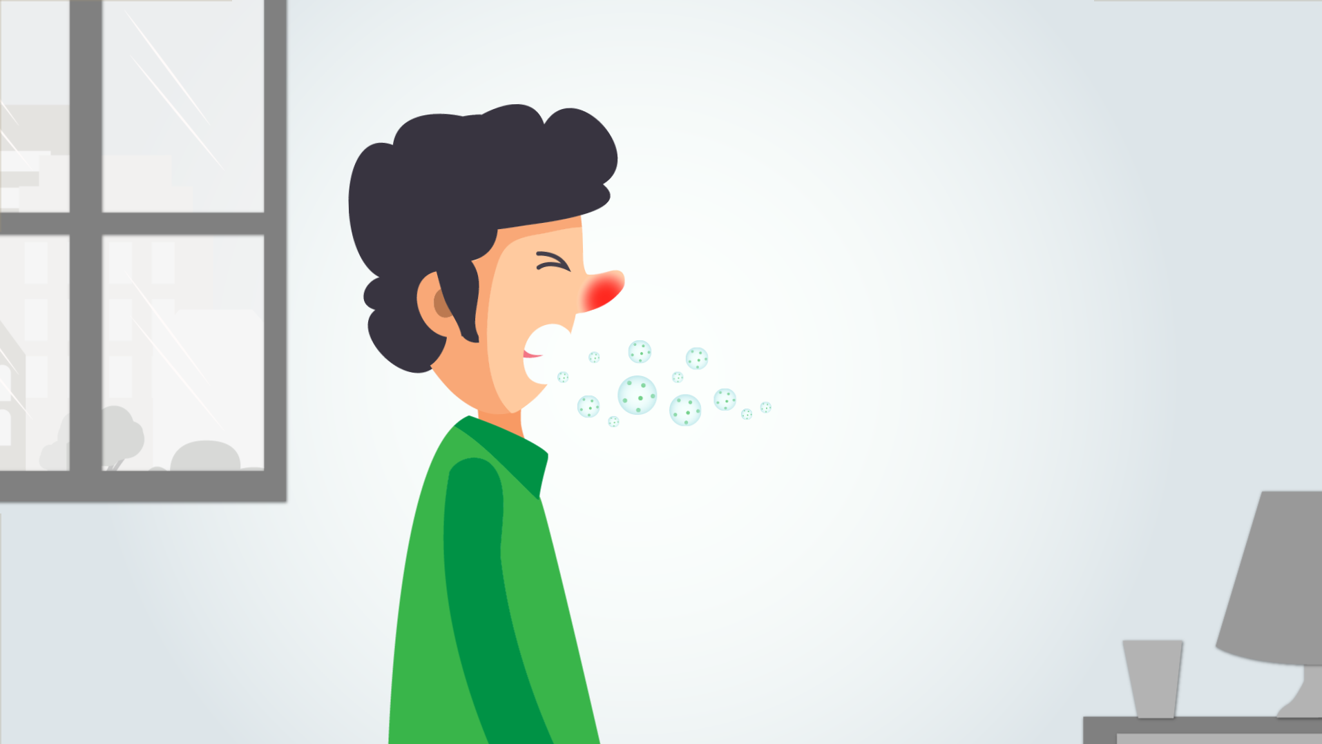 Influenza spreads when an infected person coughs or sneezes.