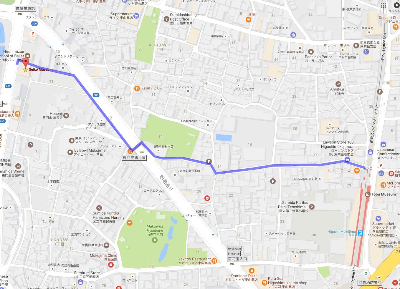 Map from Higashi-Mukōjima Station