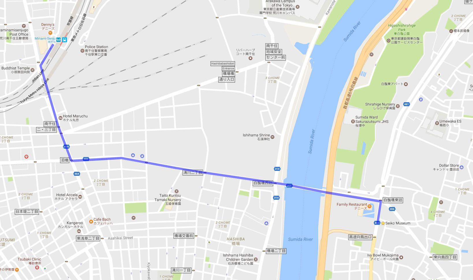 Map from Minami-Senju Station