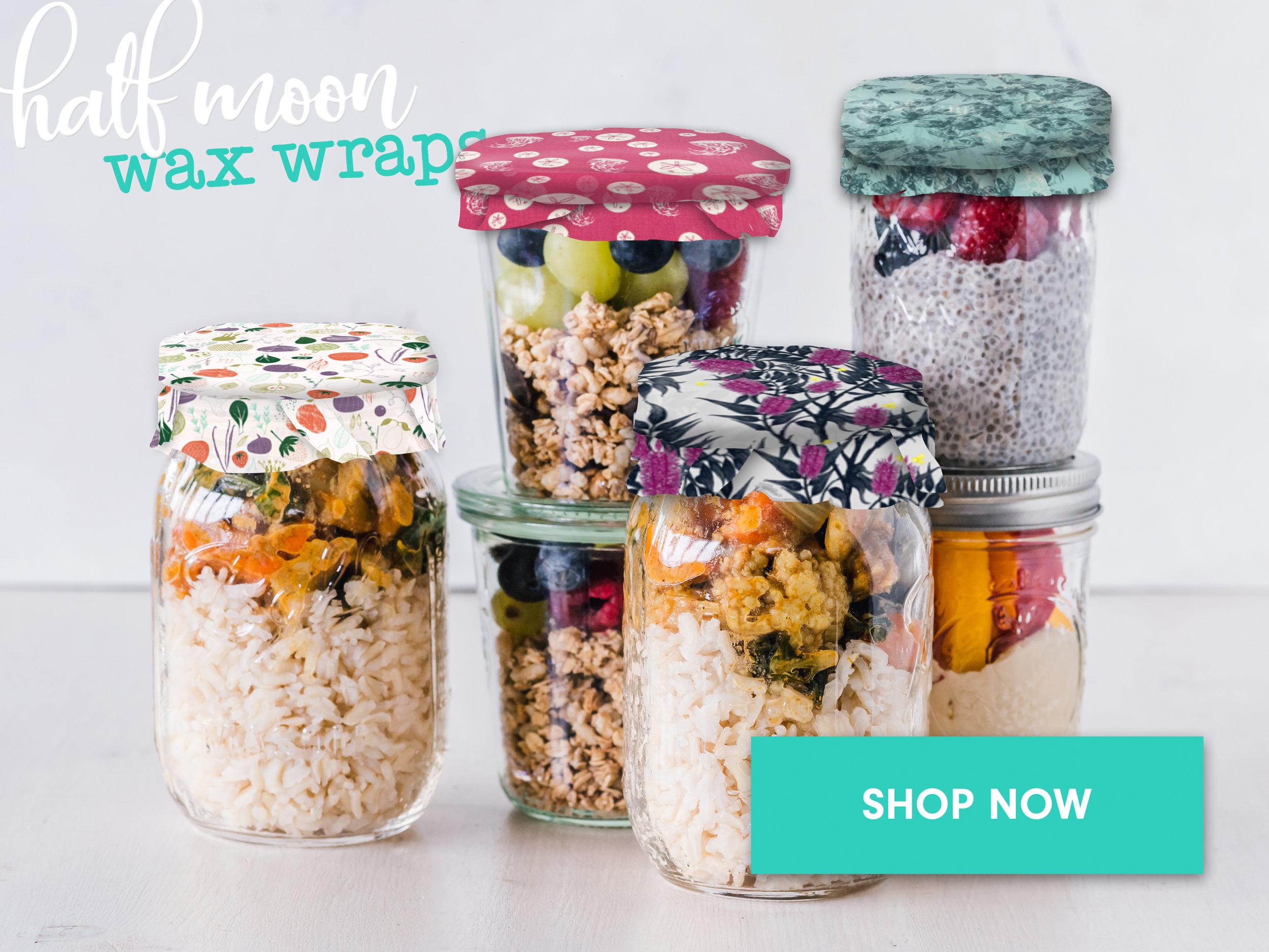 half moon wax wraps jars