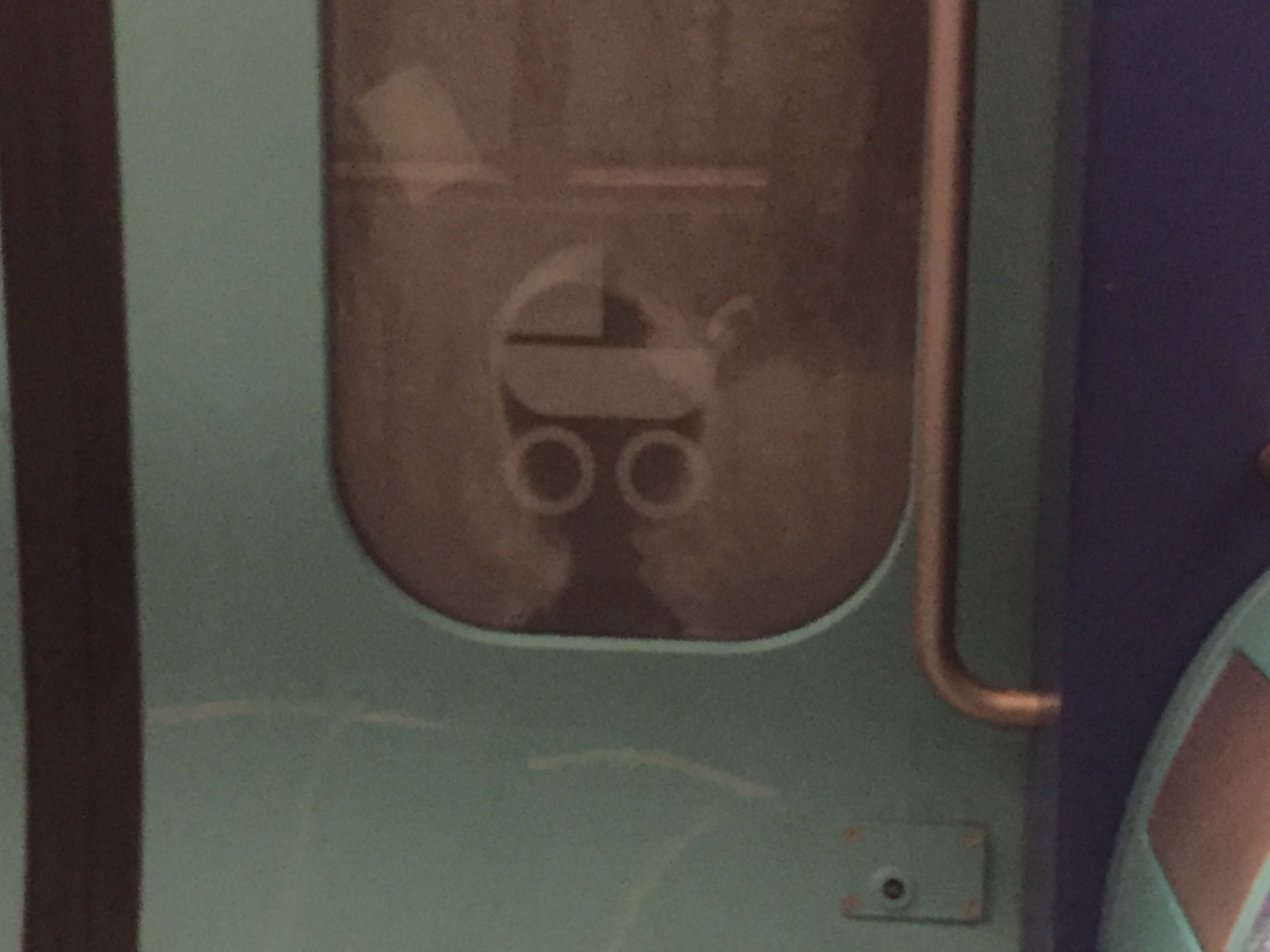 This just creeped me out one day. It looks like someone is staring at me on the train.