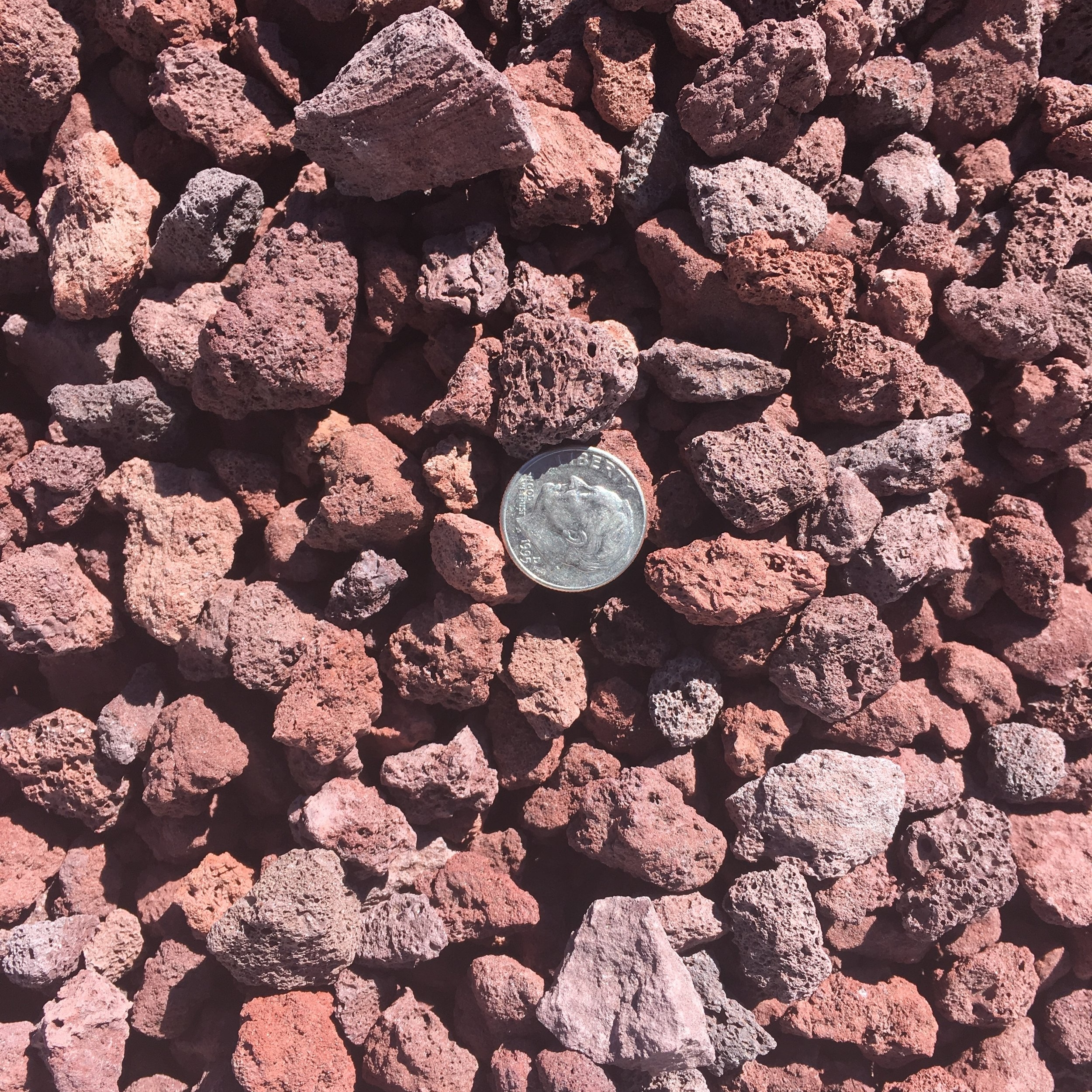 """Scoria 3/4""""  Red pumice rock used for landscaping"""