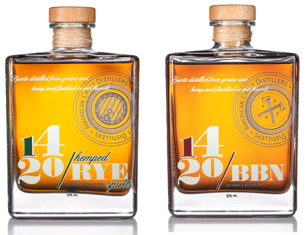 1420 hemped bourbon whiskey and 1420 hemped rye whisky.png