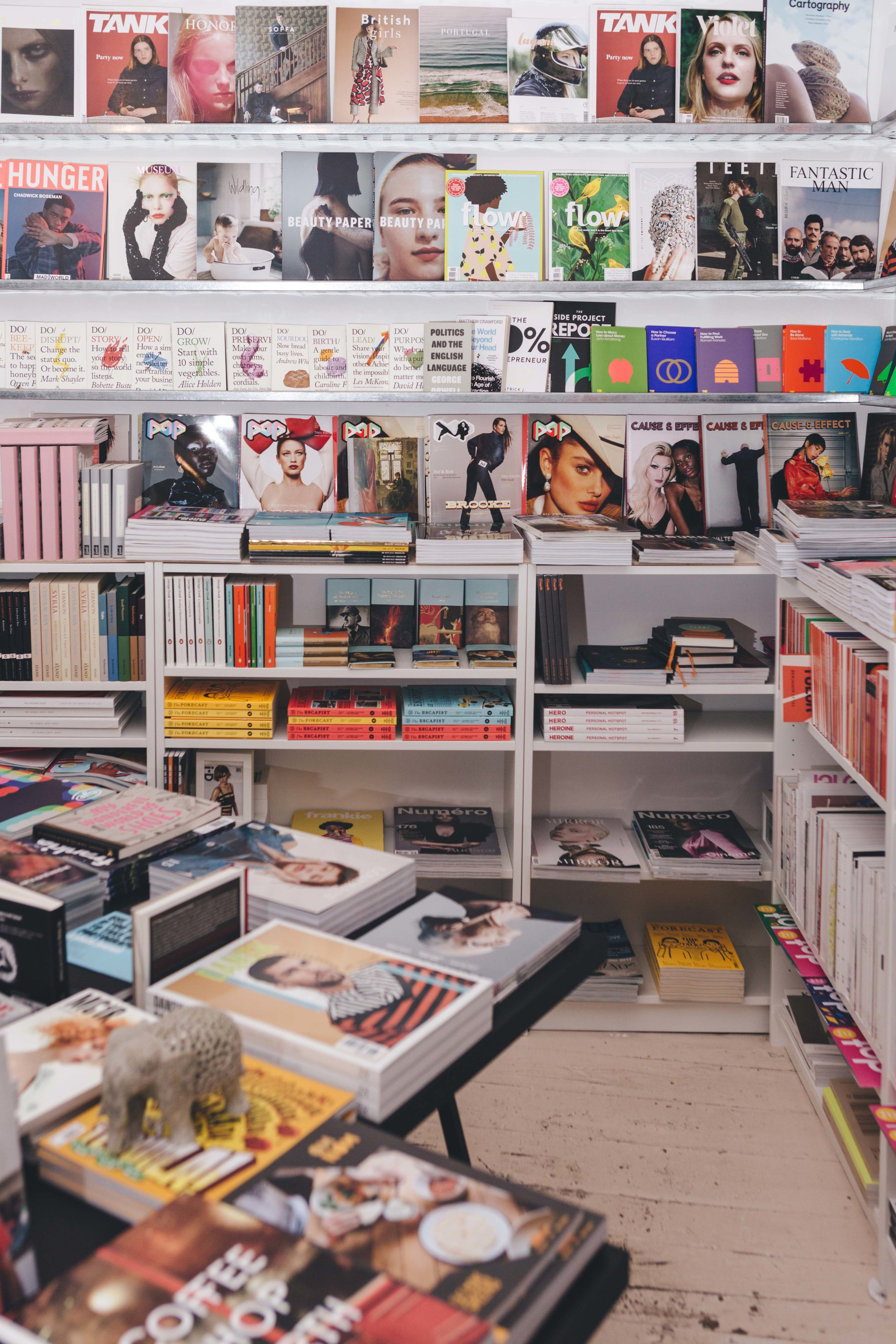 image of a book shop with shelves of magazines on the walls at the back and tables filled with books to the front of the frame