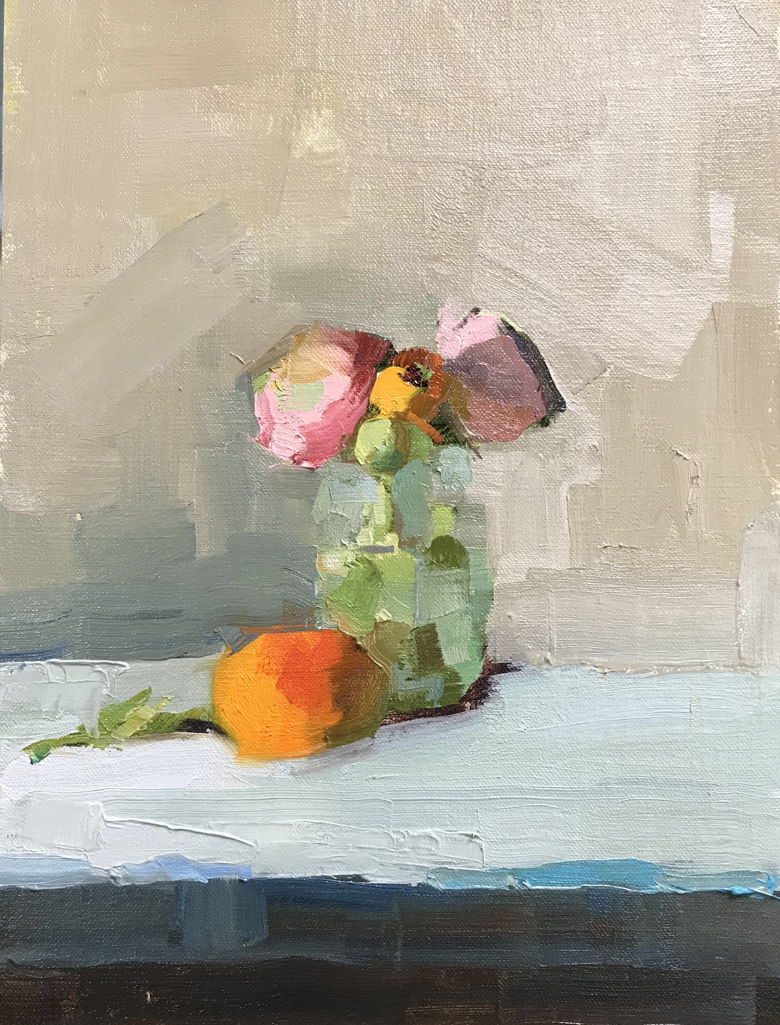 Pink Ranunculus and Clementines