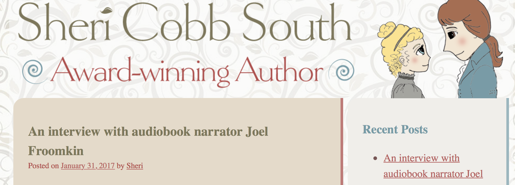 Joel chats with author  Sheri Cobb South  about the  Earphones Award winning  'John Pickett' series.