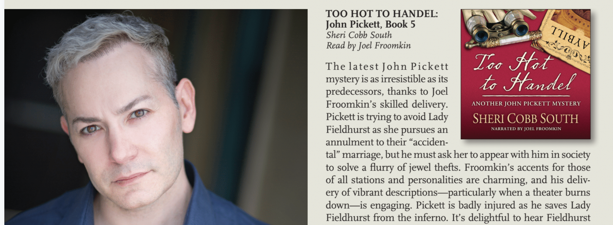 Read a full-page  feature profile  on Joel in  AudioFile Magazine, 2018.