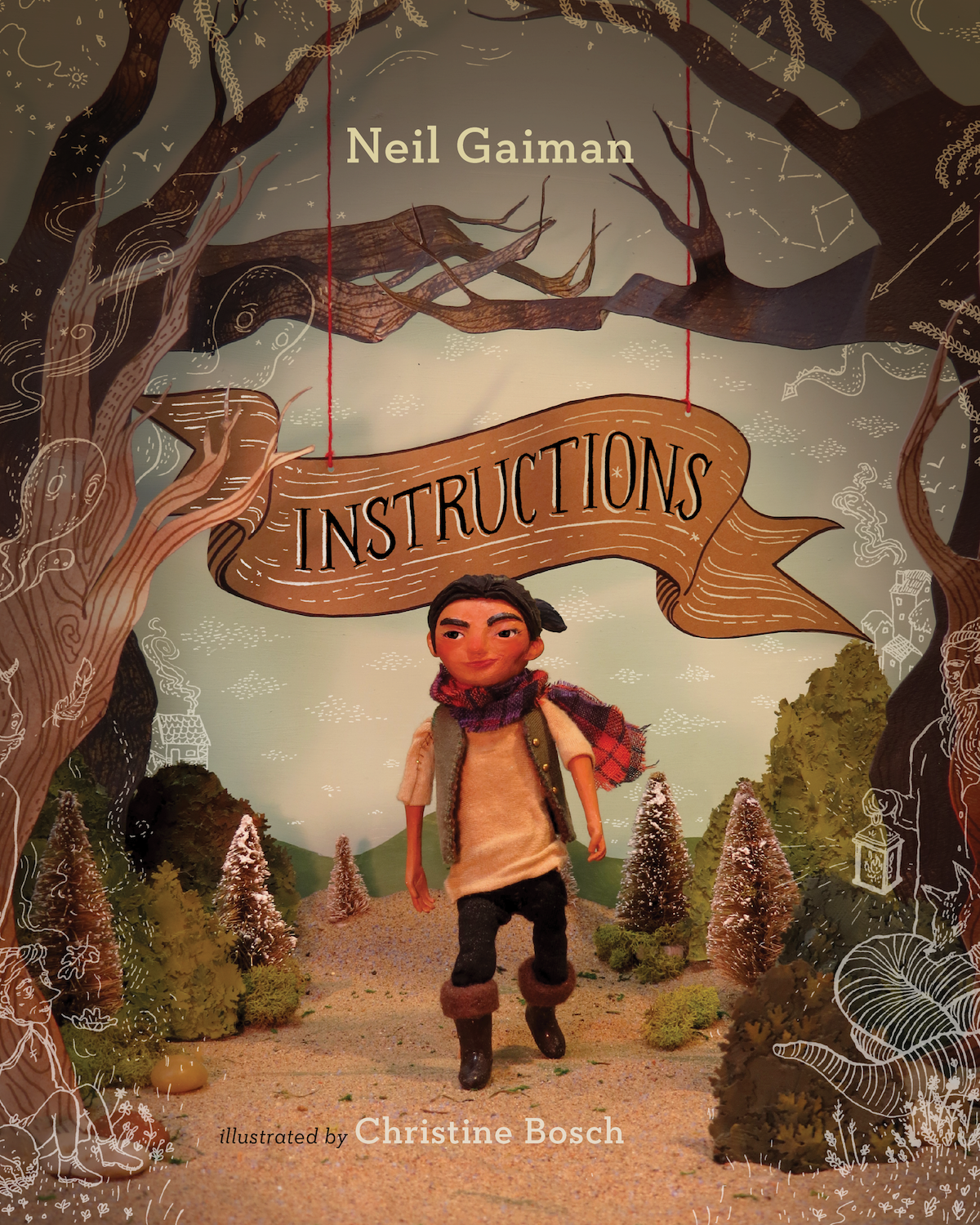 """Instructions - For my illustration thesis, I chose to illustrate the story """"Instructions"""" by Neil Gaiman using three-dimensional illustration. Using sculpy clay, fabric, wood, paper, sand, rubber, ink and more, I constructed and photographed twenty different sets which I then drew on top of with a calligraphic pen."""