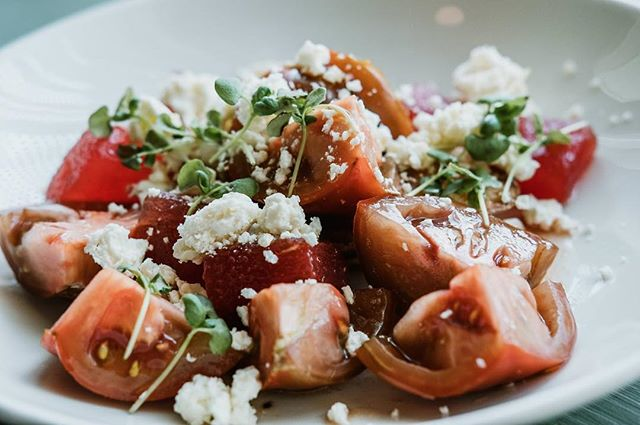 HEIRLOOM TOMATOES (mint & Serrano pepper compressed baby watermelon, feta, toast point, basil & cherry vinaigrette)
