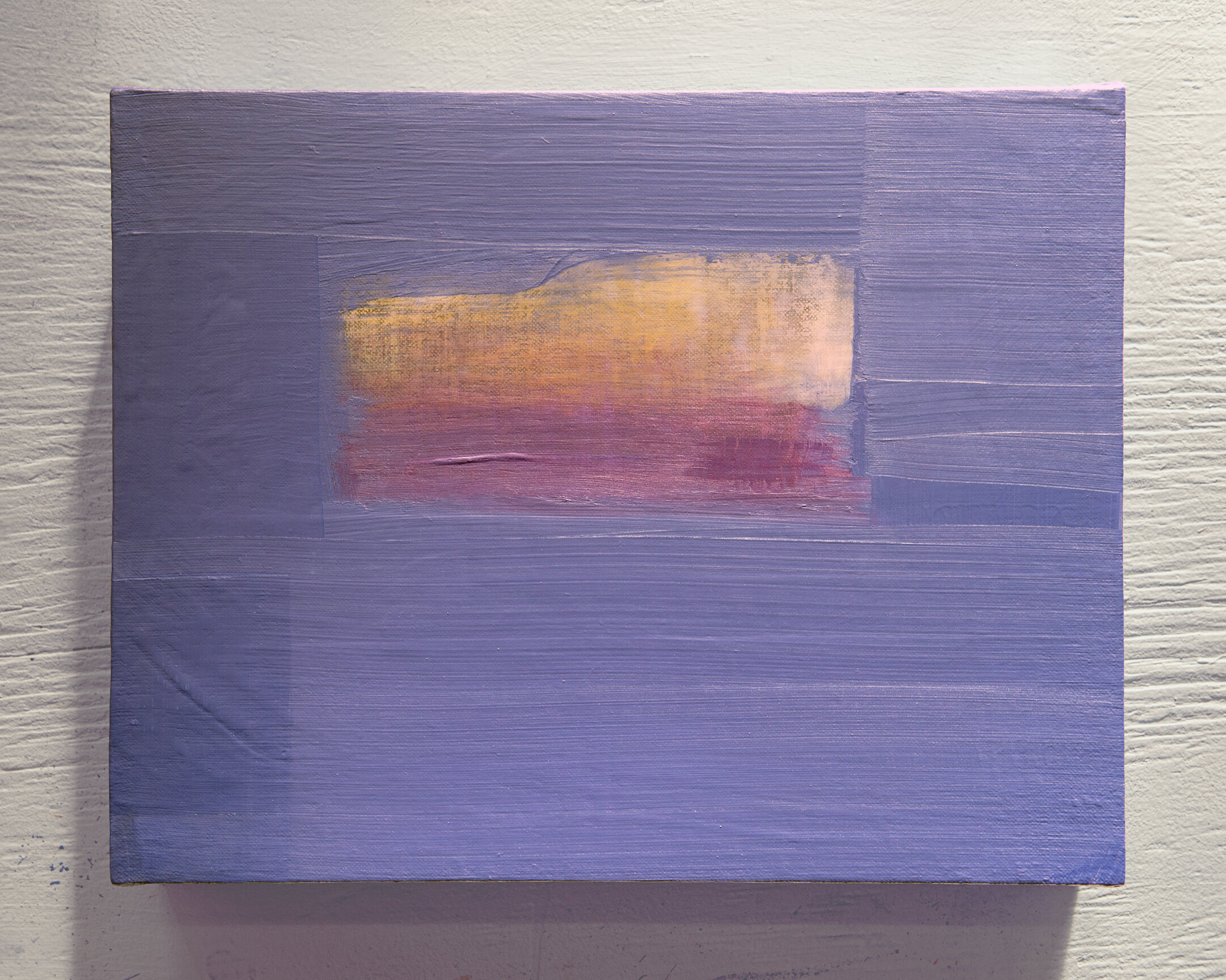 """Cobalt Lavender Sky  Medium: Iridescent acrylic and mediums on linen-wrapped support Size: 14"""" wide by 11"""" tall by 2.5"""" deep Date: 2019"""