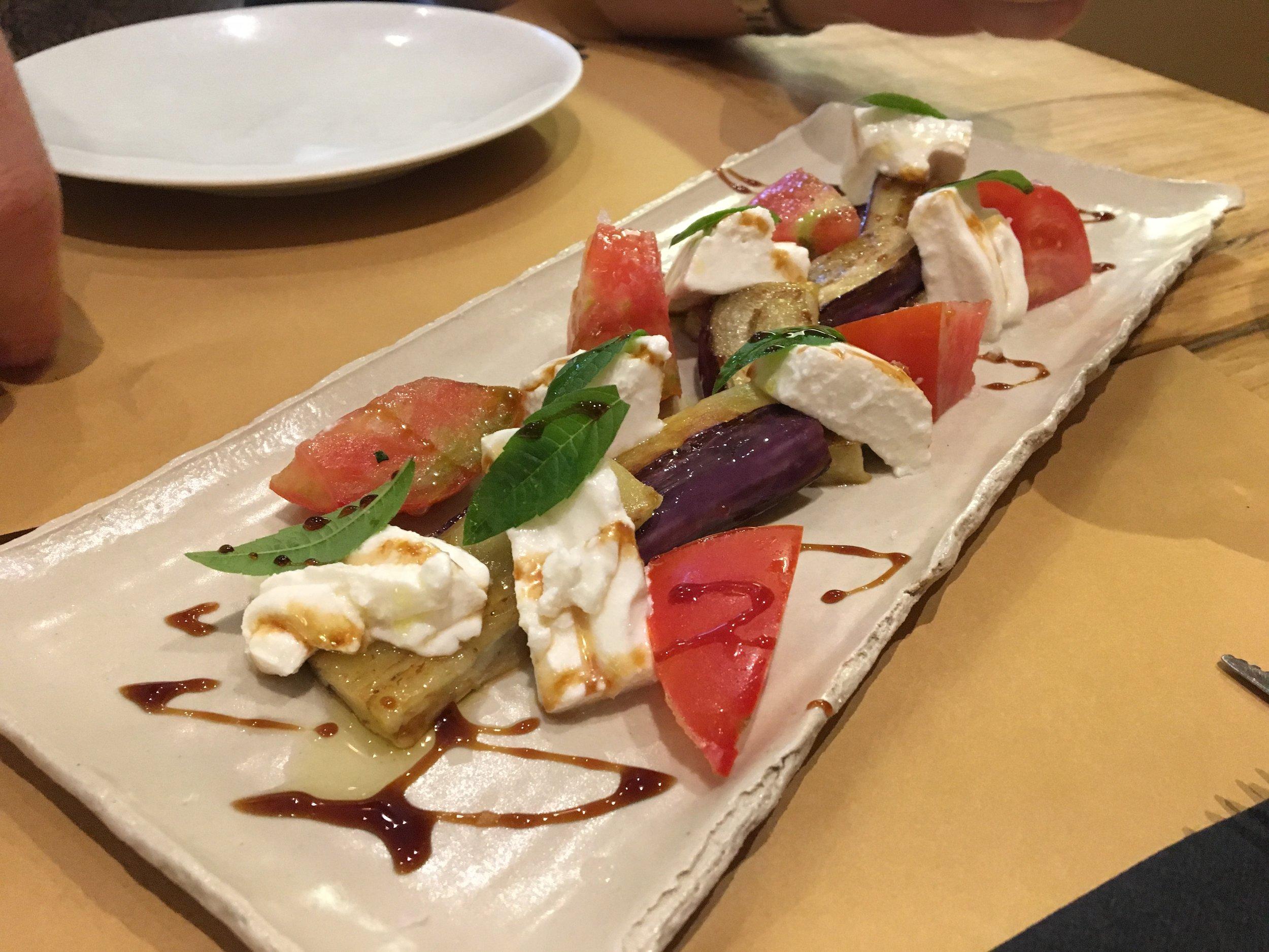 Eggplant and tomato salad at La Panxa