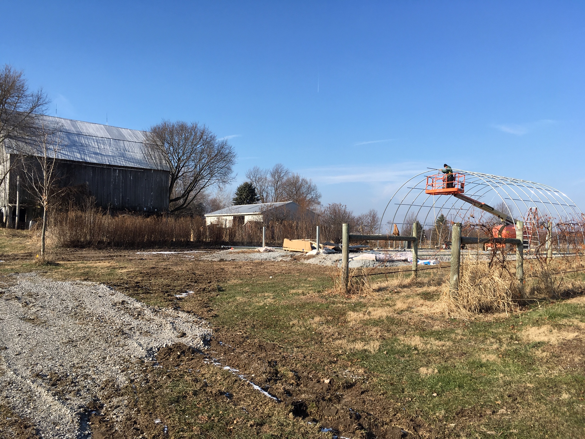 Old barn (mid-late 1800s) and new barn (2018-2019) in one shot. The new barn is 20 feet tall.