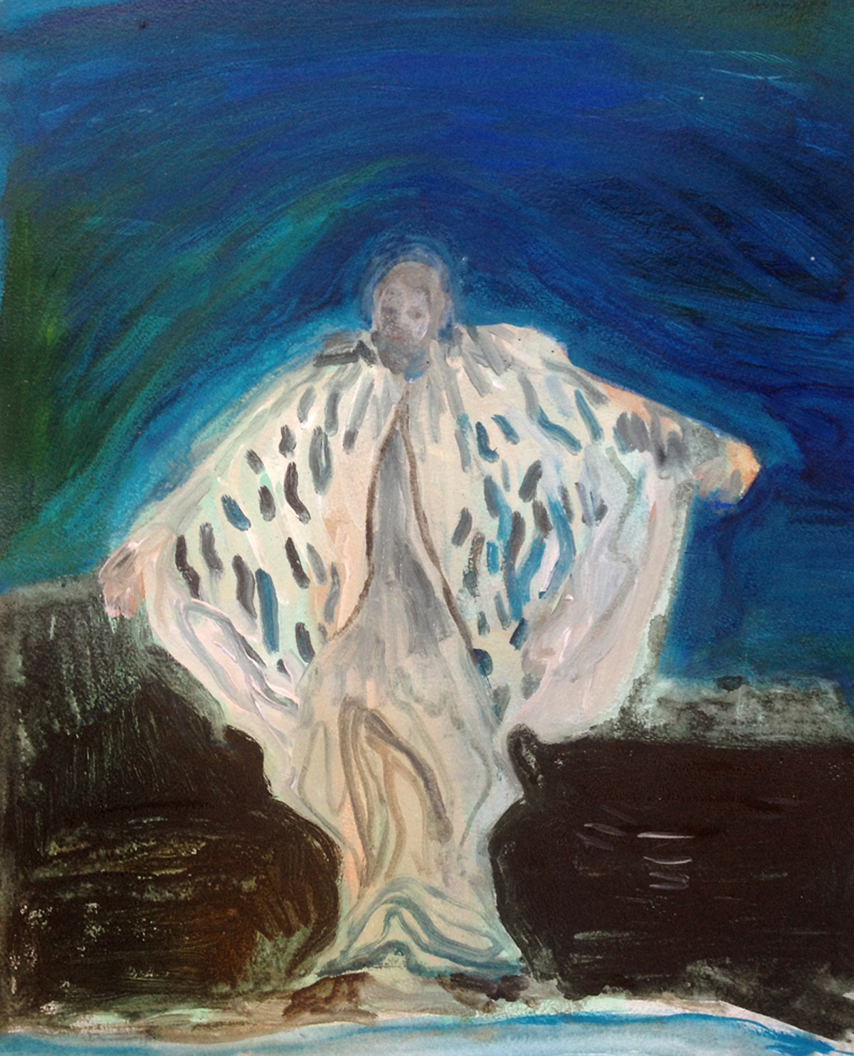 Justin Williams, Baba Desi , 2015, oil on paper, 43 x 53cm