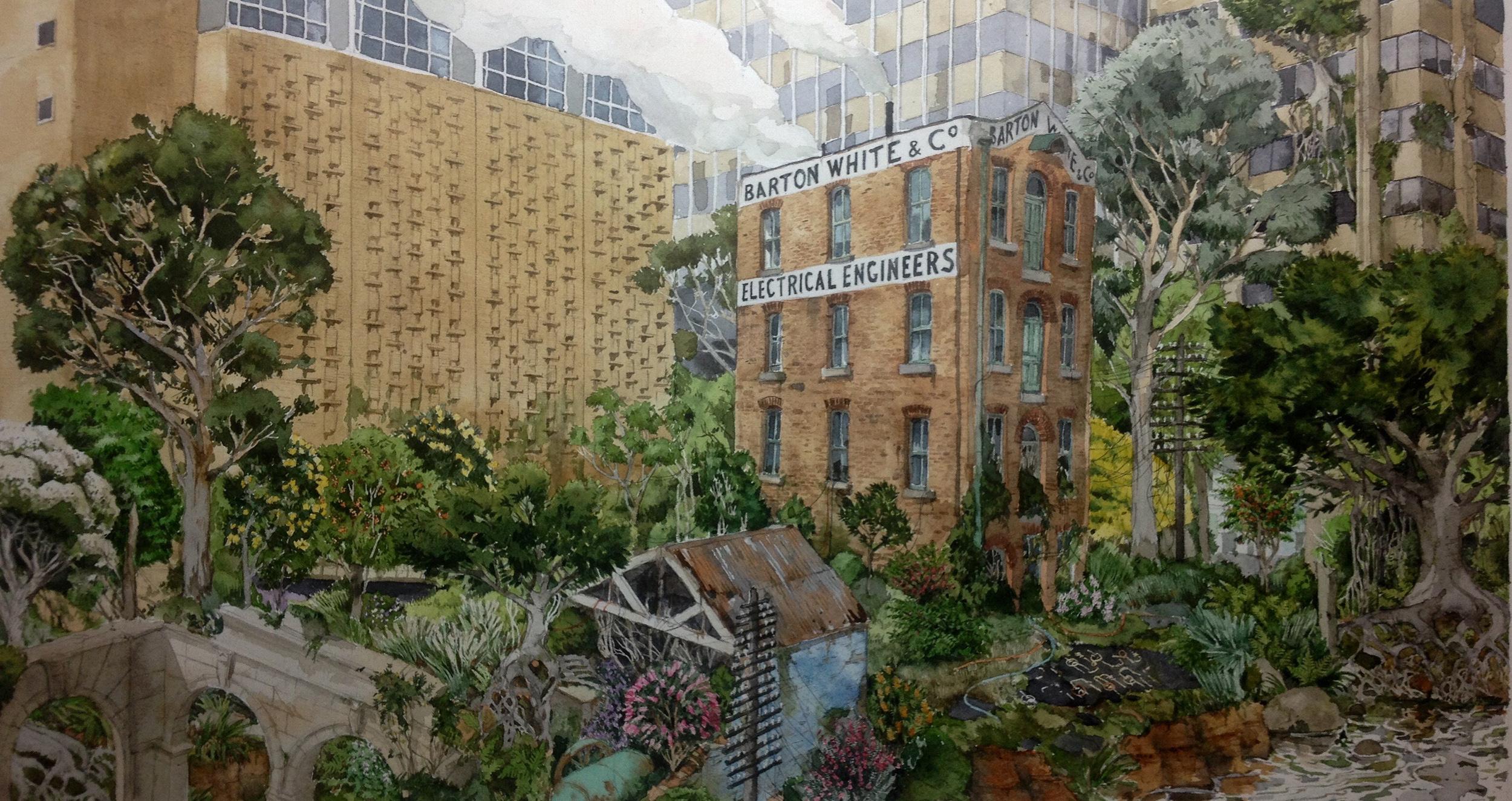 Simon MacEwan, Transformer,  2015, Watercolour on paper, 45 x 24.5cm