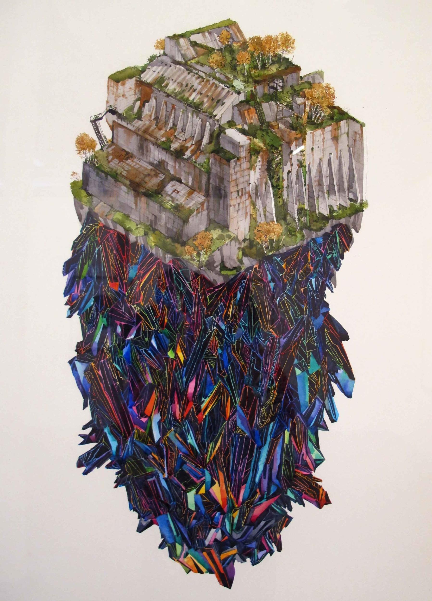 Simon MacEwan, L'Etoile Mysterieuse , 2012, watercolour on paper, 76 x 56cm