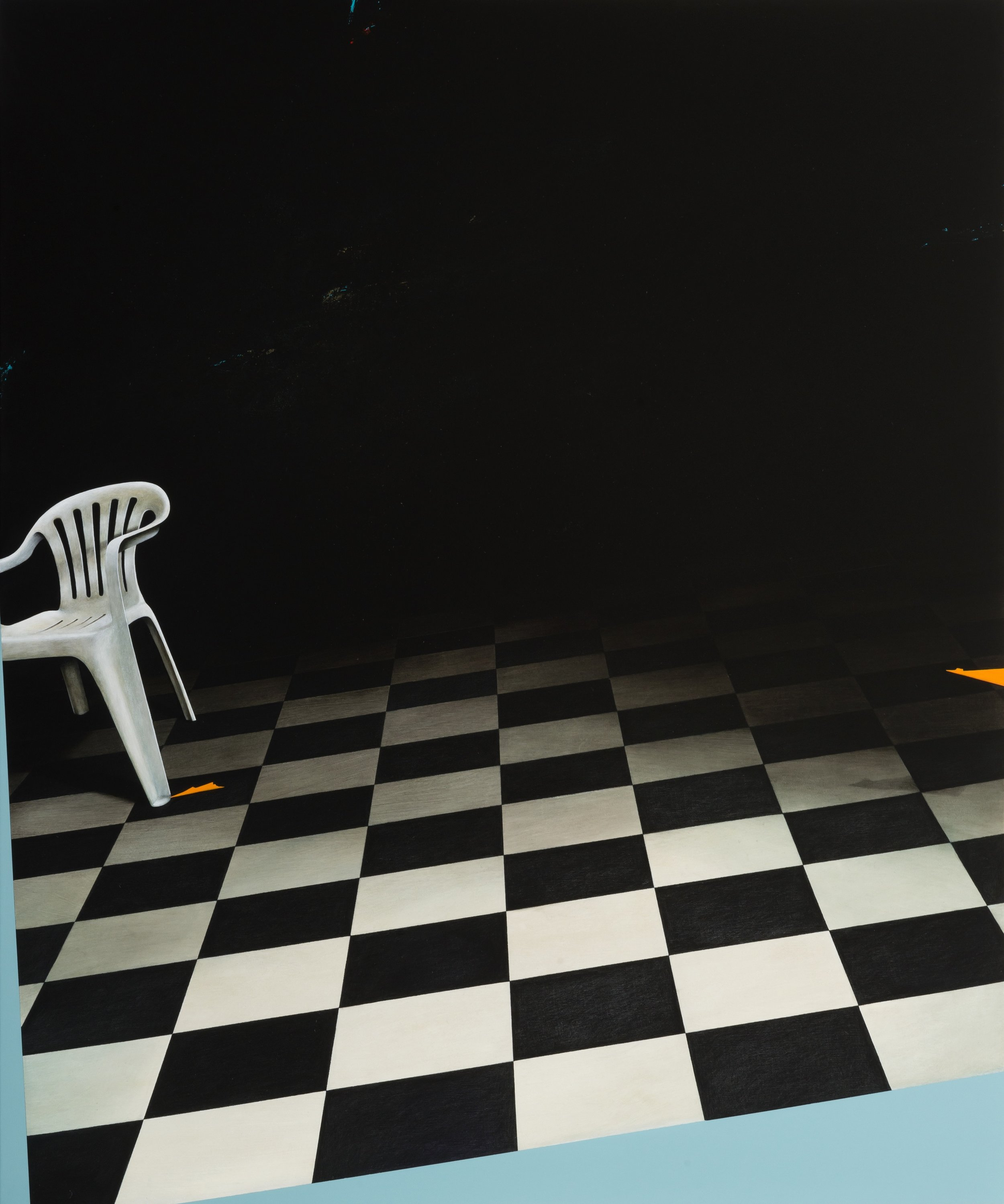 Jarek Wojcik, Sliding Room , 2015, acrylic on linen, 122 x 102cm