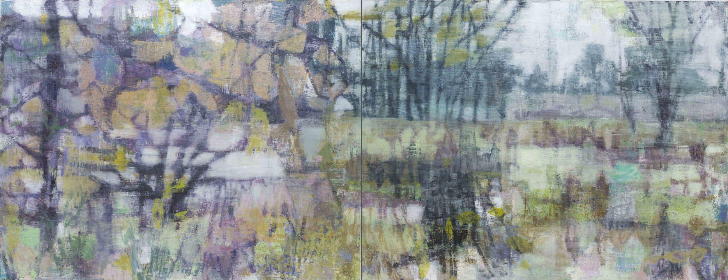 Joanna Logue, Heartland I , 2016, oil on linen, 130 x 340cm
