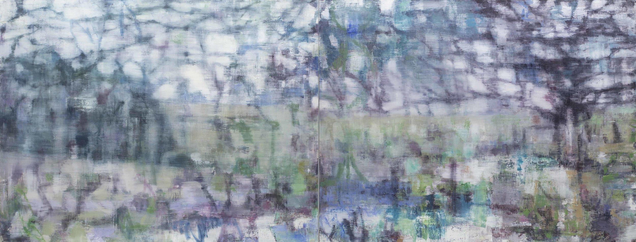 Joanna Logue, Heartland II , 2016, oil on linen, 130 x 340cm