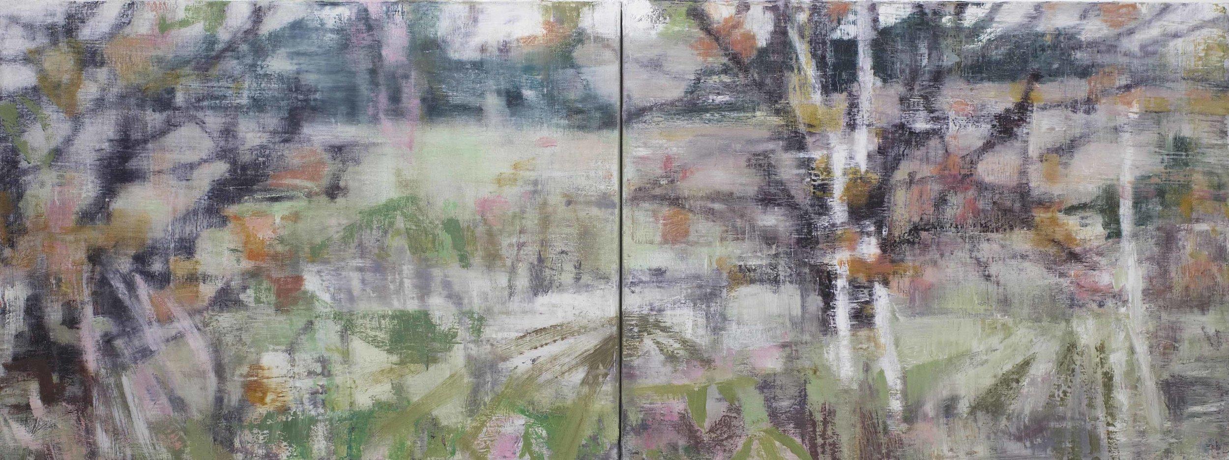 Joanna Logue, Willow - Ducknest Paddock, 2016 , oil on inen, 60 x 160cm