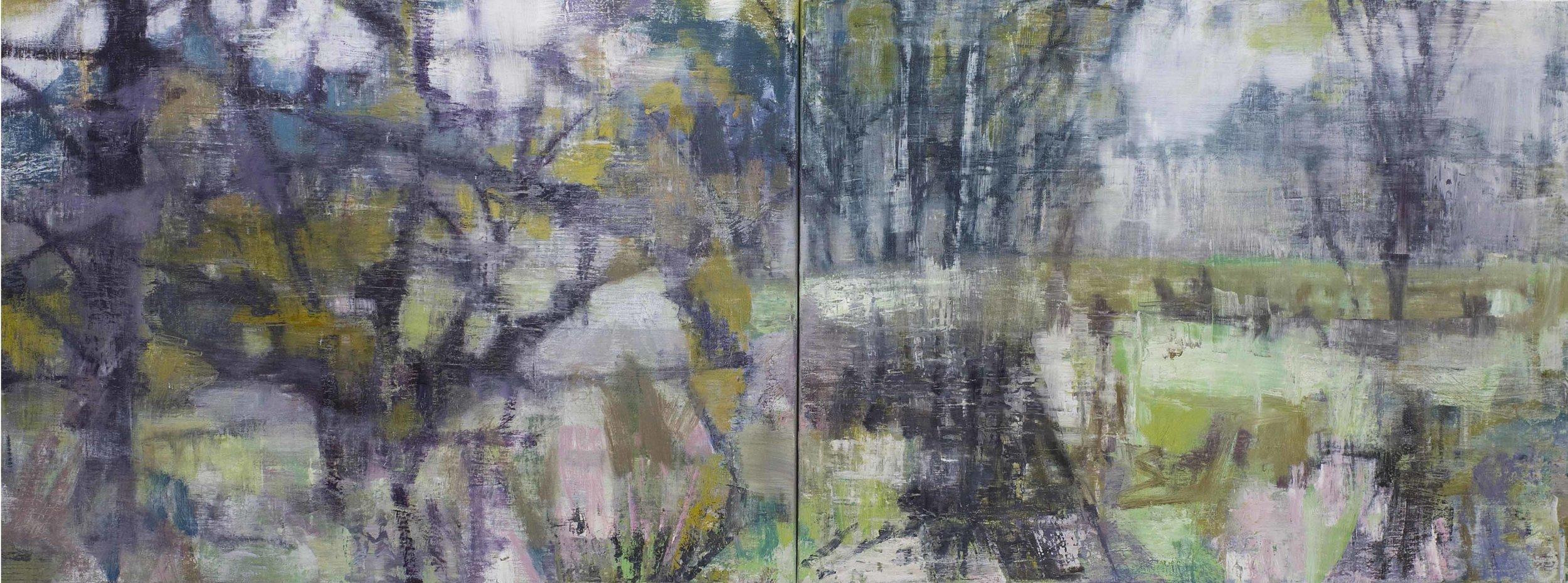 Joanna Logue, Willow - Ducknest Paddock II , 2016, oil on linen, 60 x 160cm