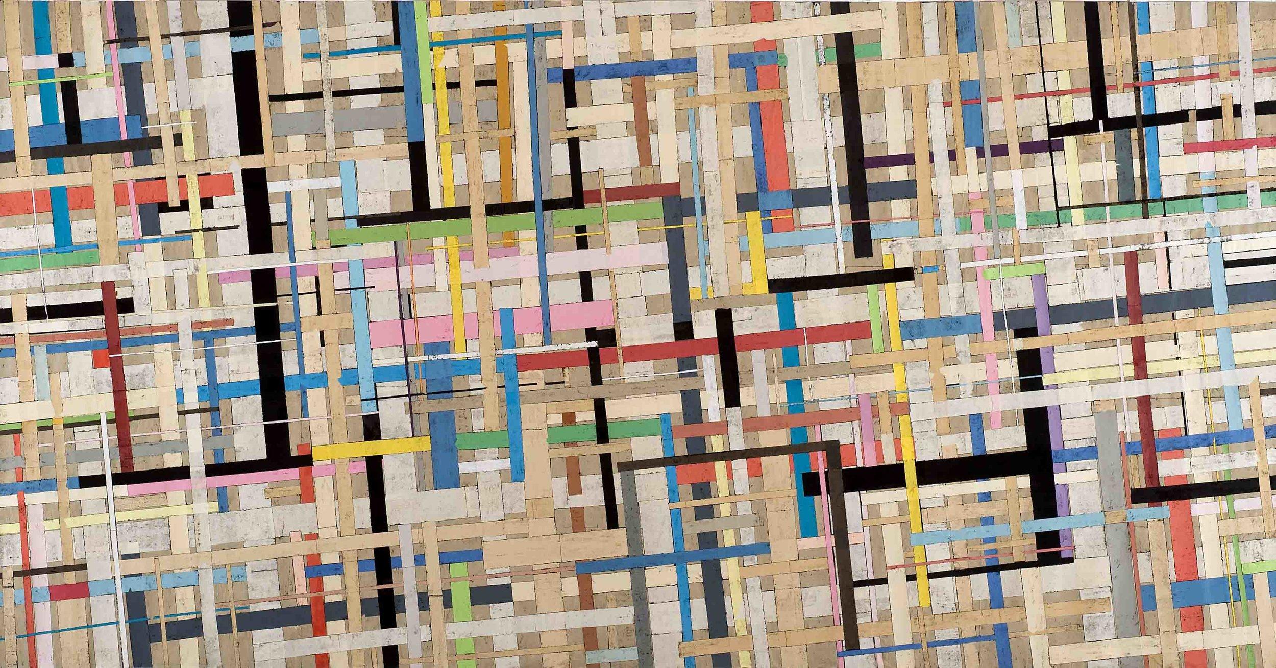 Sam Grigorian, Miles Davis gewidmet , 2008, mixed media, décollage, 181 x 348cm