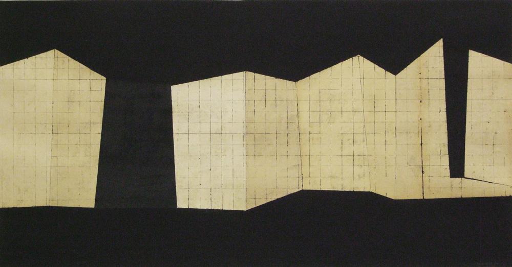 Sam Grigorian, Place #2 , 2010, mixed media decollage, 49 x 94cm