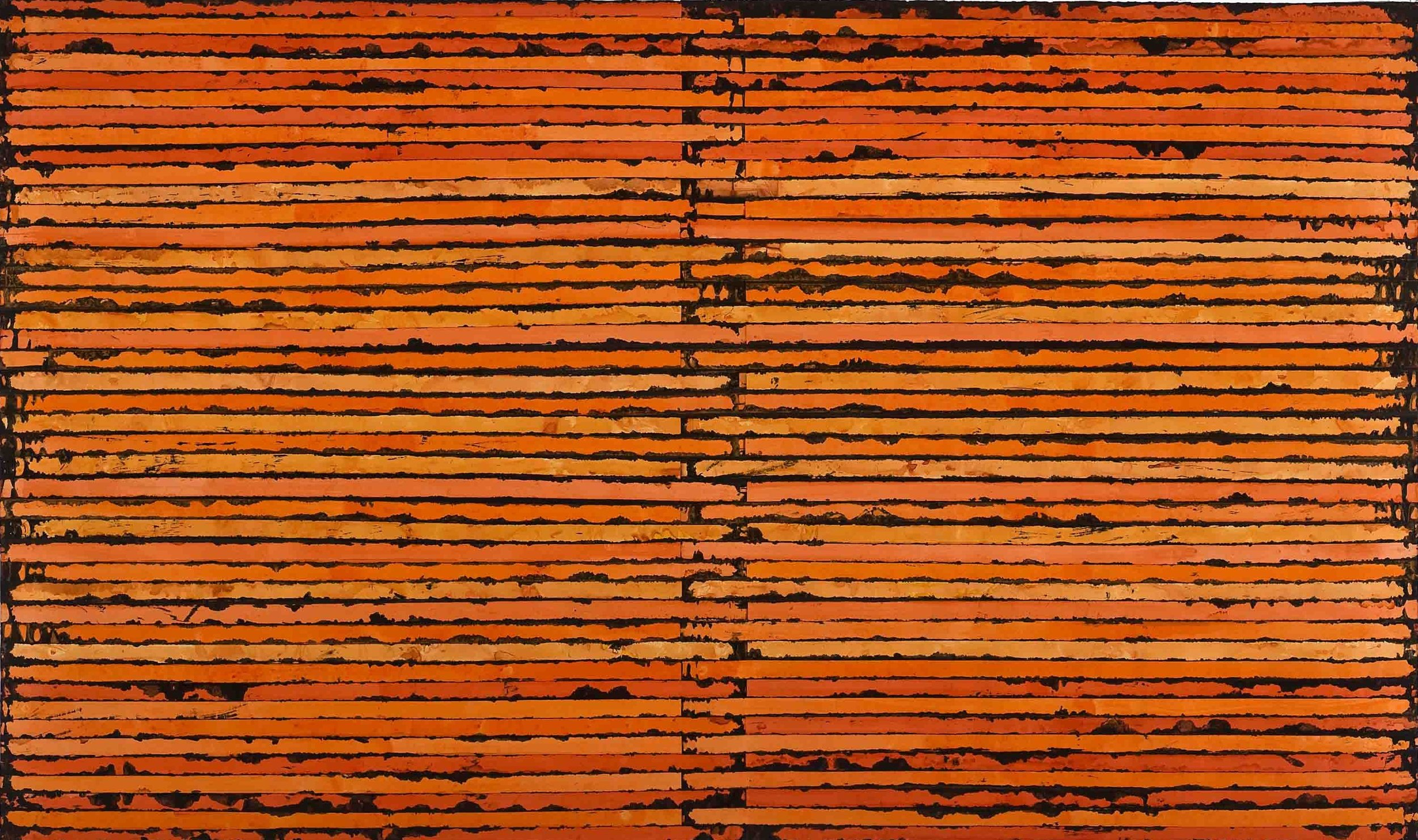 Sam Grigorian, Orange , 2010, mixed media, décollage, 147 x 250cm