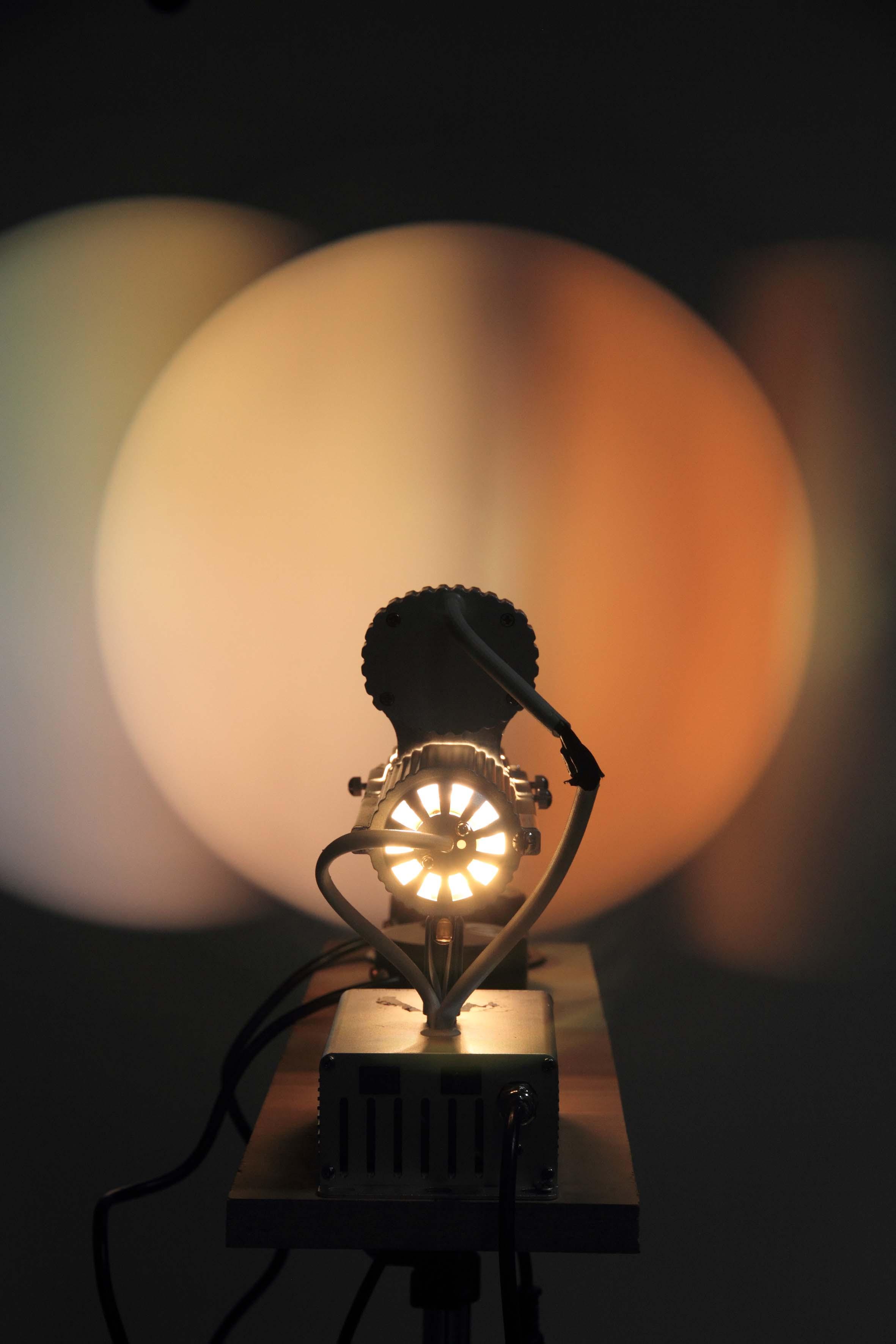 Michaela Gleave, Eclipse Machine (Blue, Red) , 2013, lamp fitting, dichroic glass, mirror ball motors, cedar, lighting stand, 100 x 100 x 140cm