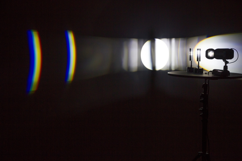 Michaela Gleave, Eclipse Machine (Retrograde Motion) , 2015 Projection lamp, motors, optical glass, timber, stand 90 x 90 x 140cm