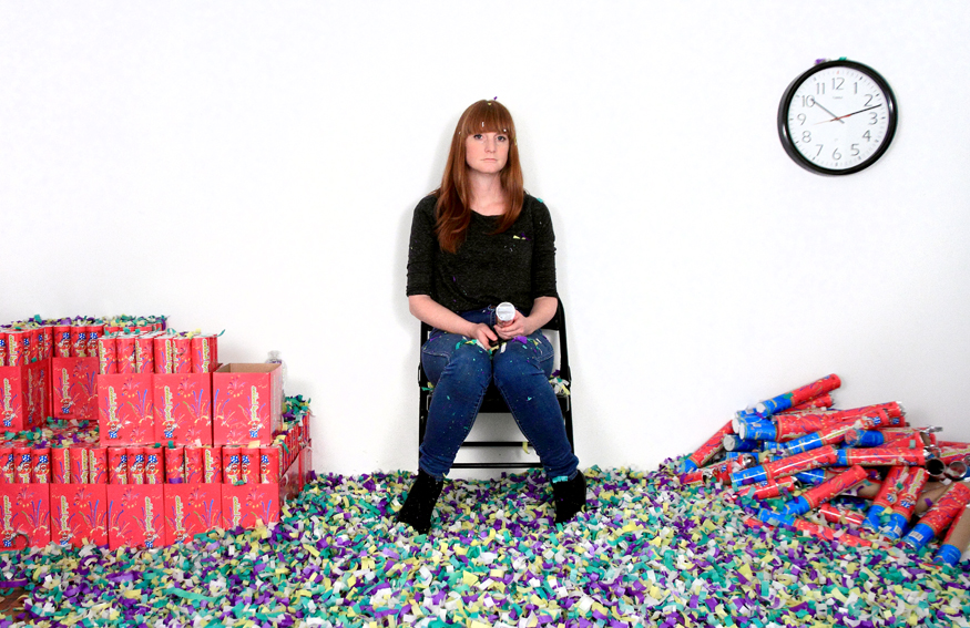 Michaela Gleave, Waiting For Time (7 Hour Confetti Work) , Video performance executed live via Youtube, 10 May 2014 Installation view: ISCP New York. Photographs: Michaela Gleave