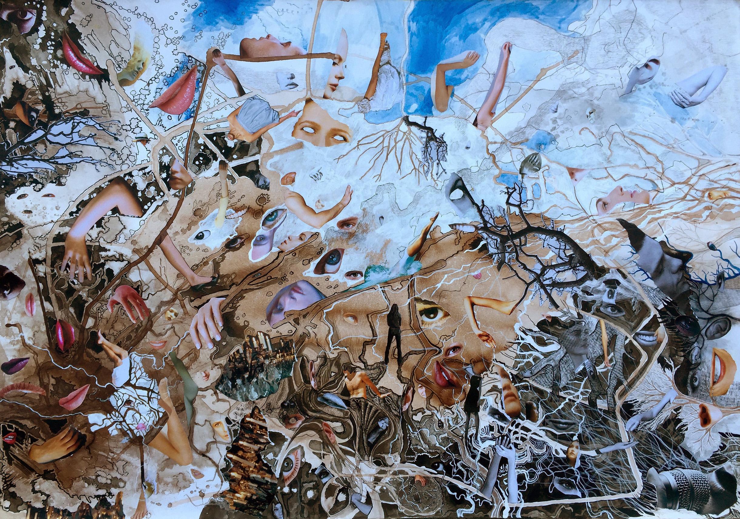 Sue Dodd, The Last Tour I , ink, graphite, gouache, acrylic, magazine prints, 100 x 69.5cm