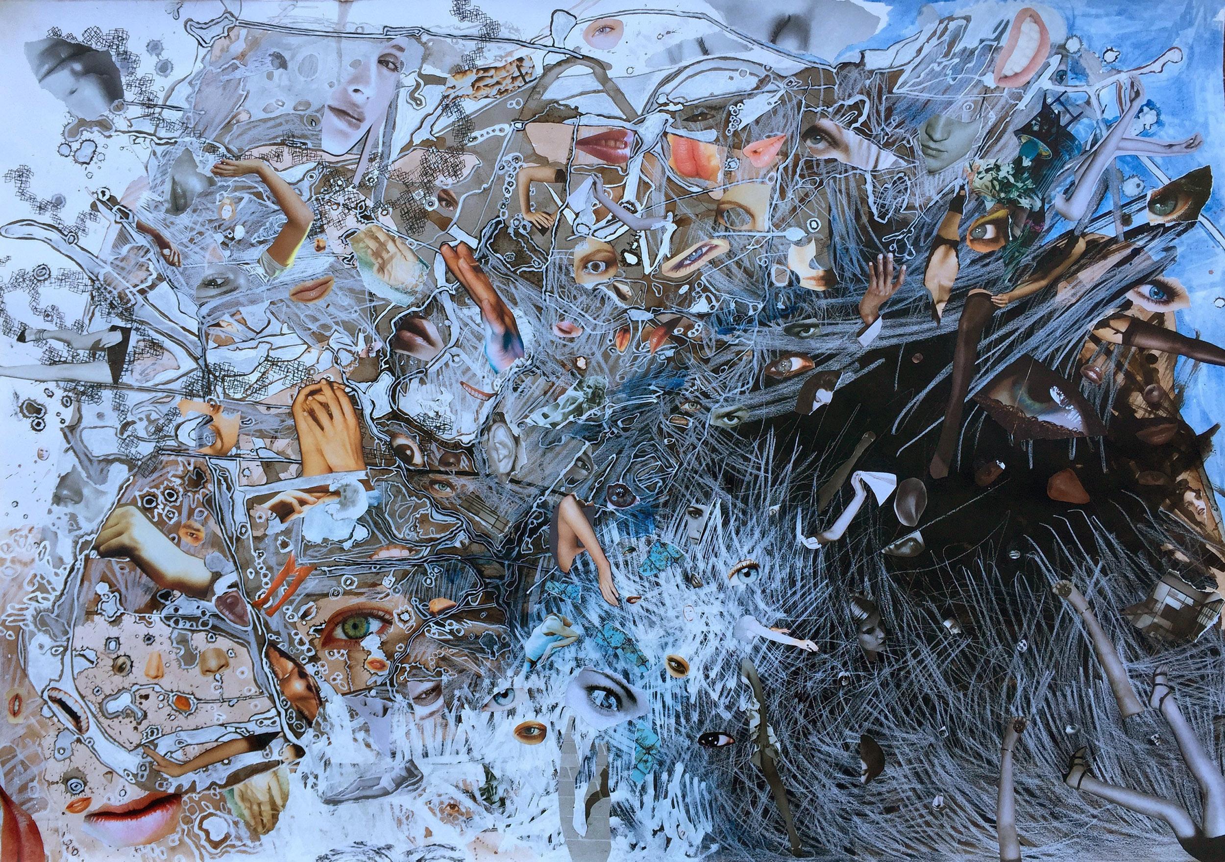 Sue Dodd, The Last Tour II , ink, graphite, gouache, acrylic, magazine prints, 100 x 69.5cm