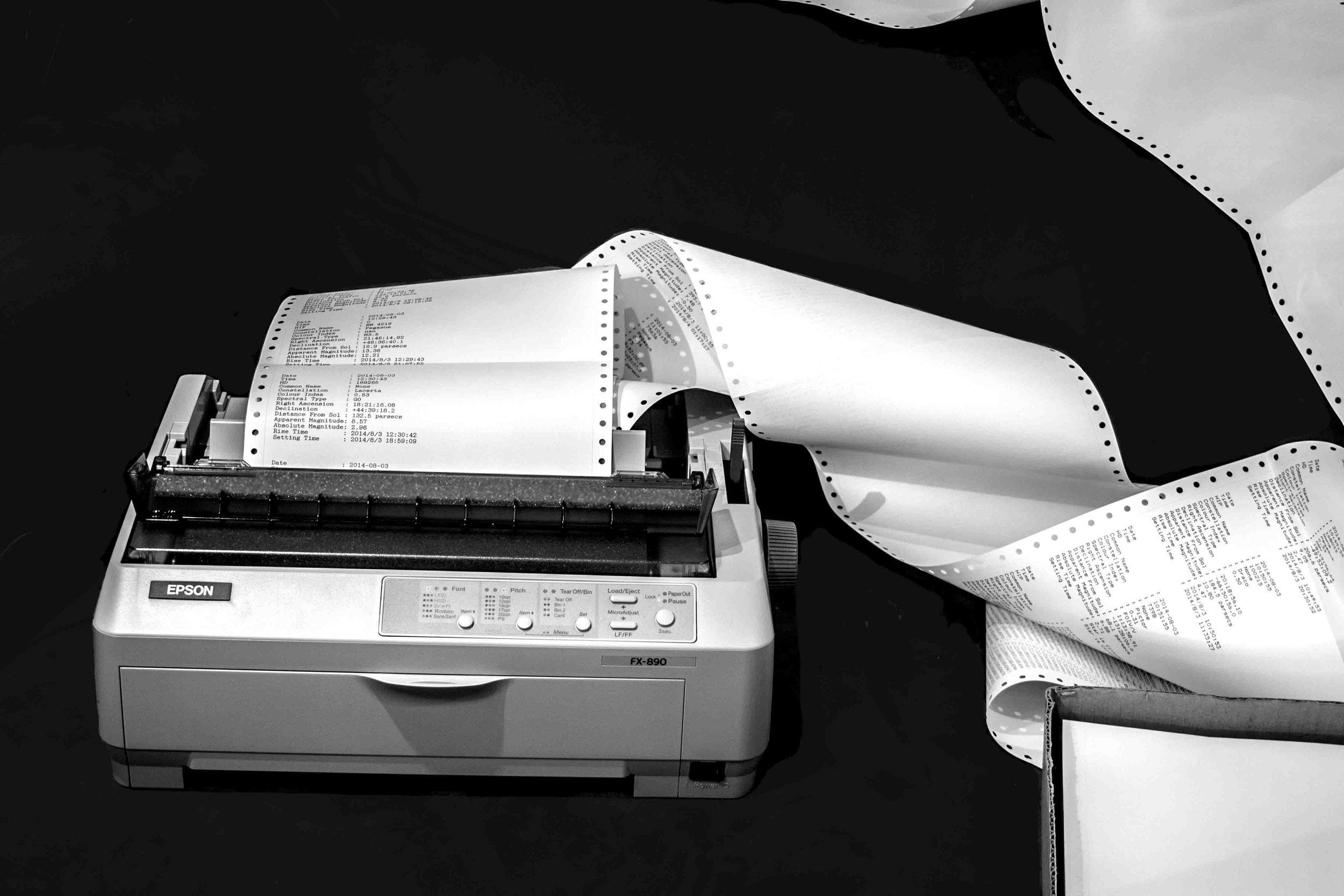 Michaela Gleave, The World Arrives at Night (Star Printer) , 2014, dot matrix printer, mini PC, custom computer program, fanfold paper, table, 107 x 120 x60cm, programming: Michaela T Fitzgerald