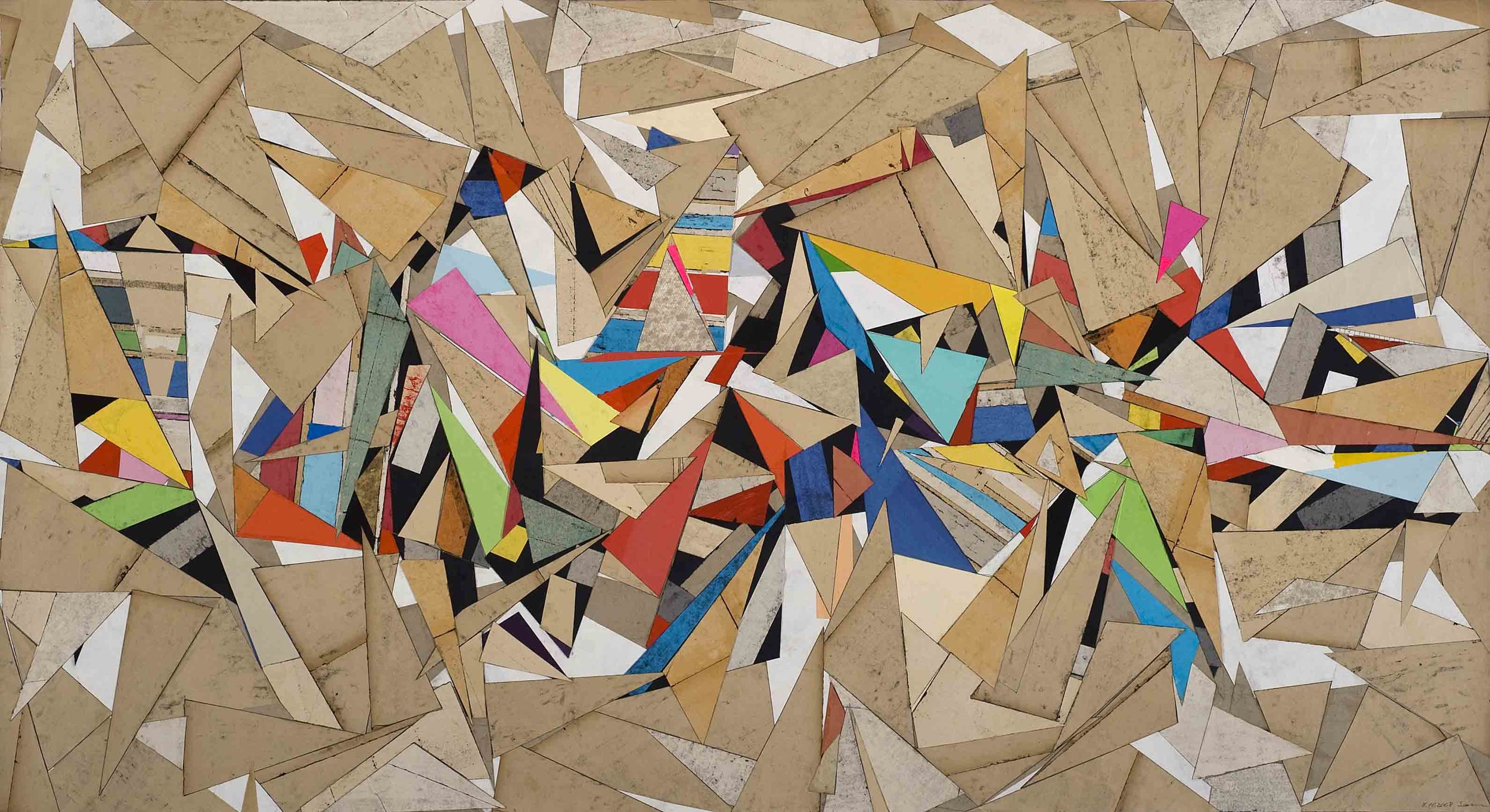 Sam Grigorian, Untitled , 2012, mixed media, decollage, 80 x 147cm