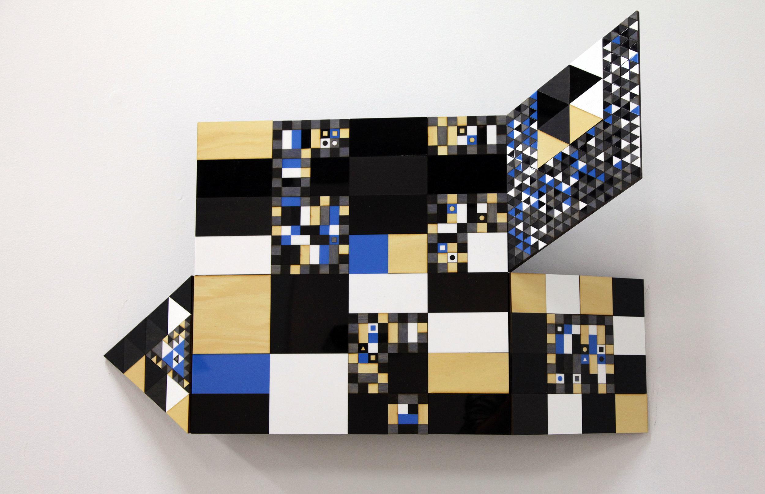 Troy Innocent, Ventifact,  2015, laser cut plywood and acrylic, 102 x 51cm