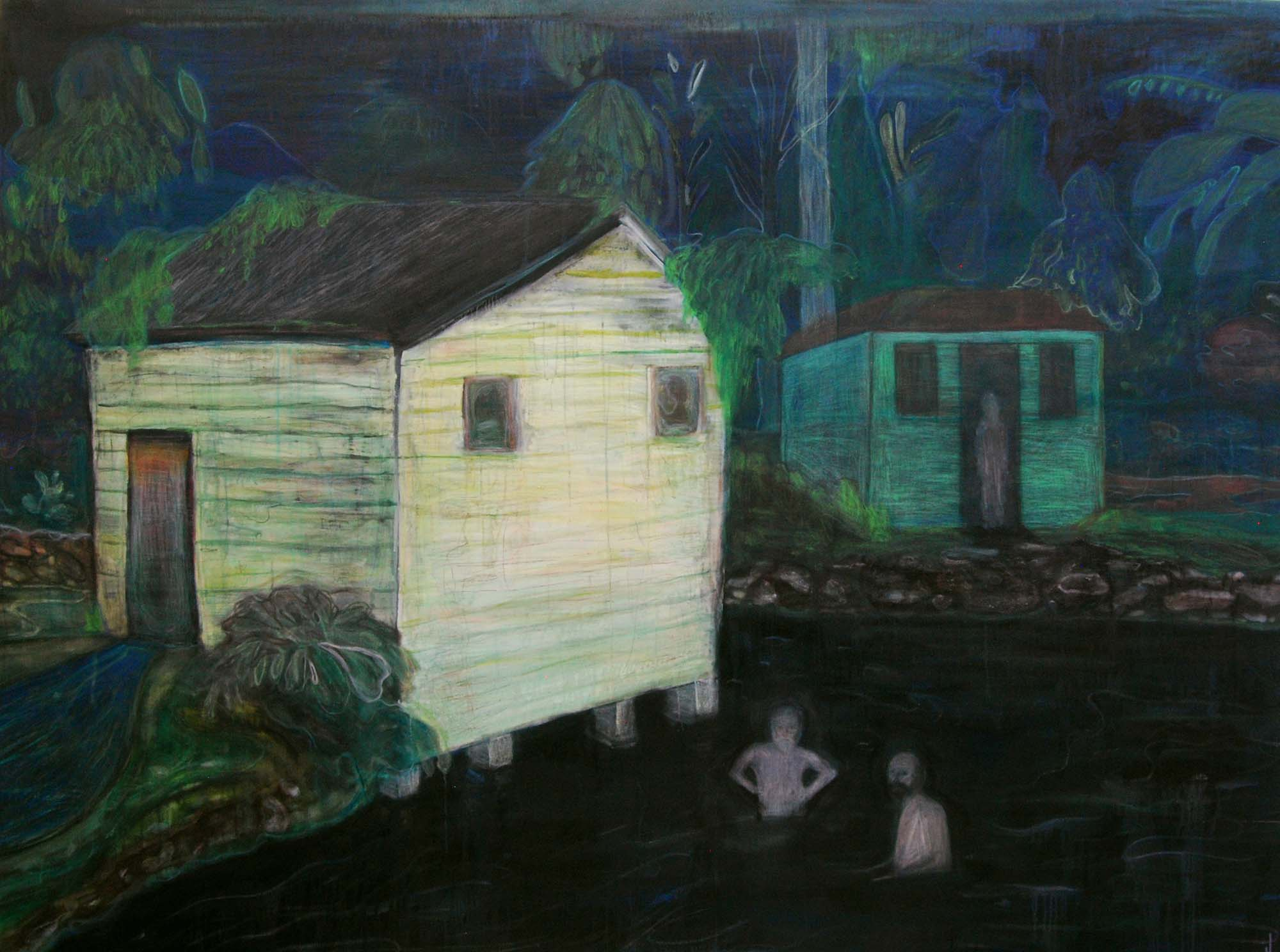 Justin Williams, Memorial Gardens with green house , 2014, oil and raw pigment on canvas, 175 x 221cm