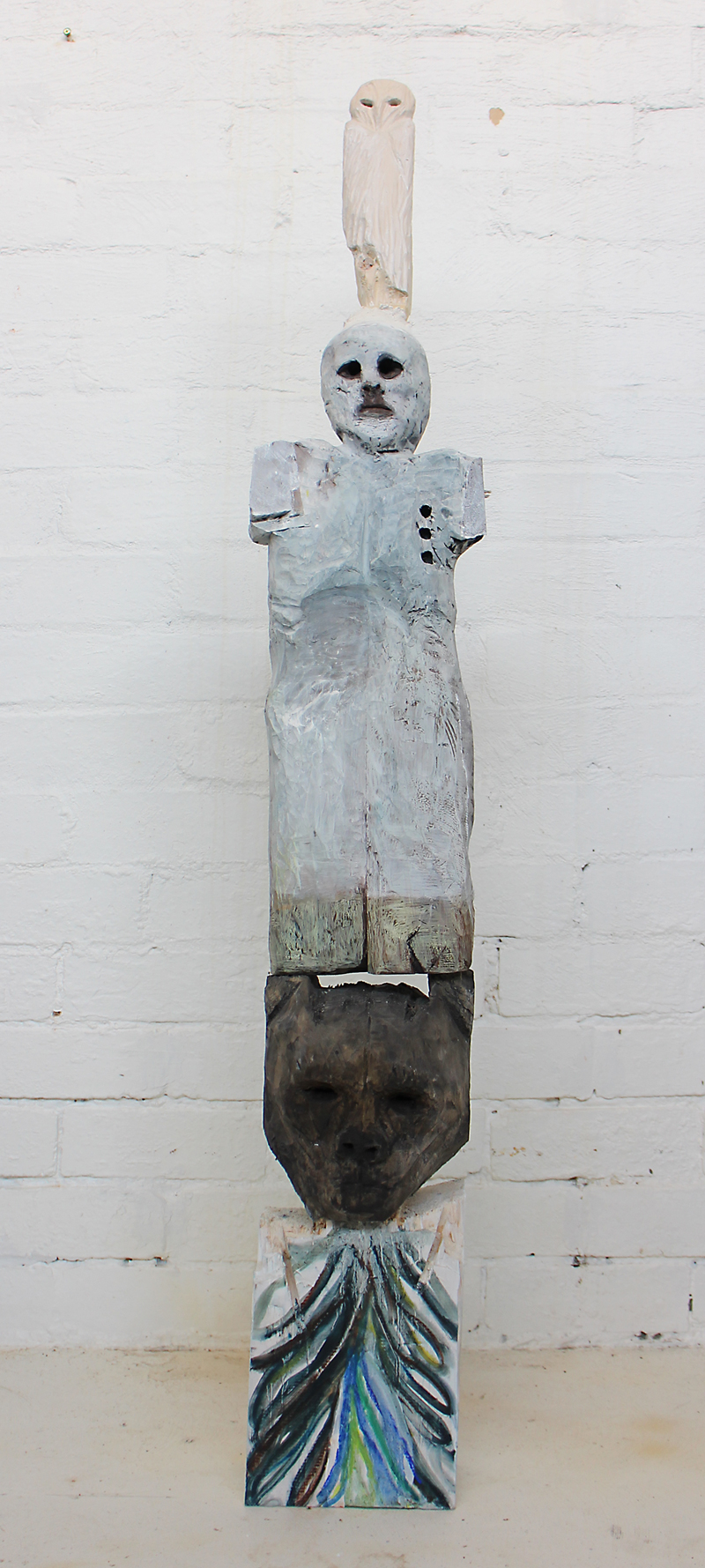 Justin Williams, Owl , Panther, Man, 2015, wood, pigment and plaster, 130 x 11cm