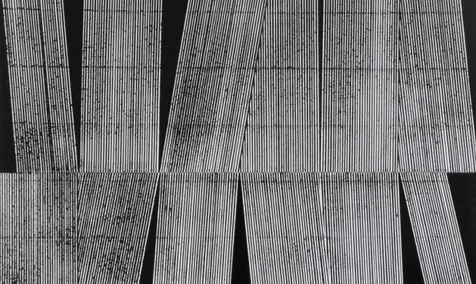 Emma Langridge, Signal to Noise (15) , 2013-2014, enamel and acrylic on wood, 35 x 40cm each