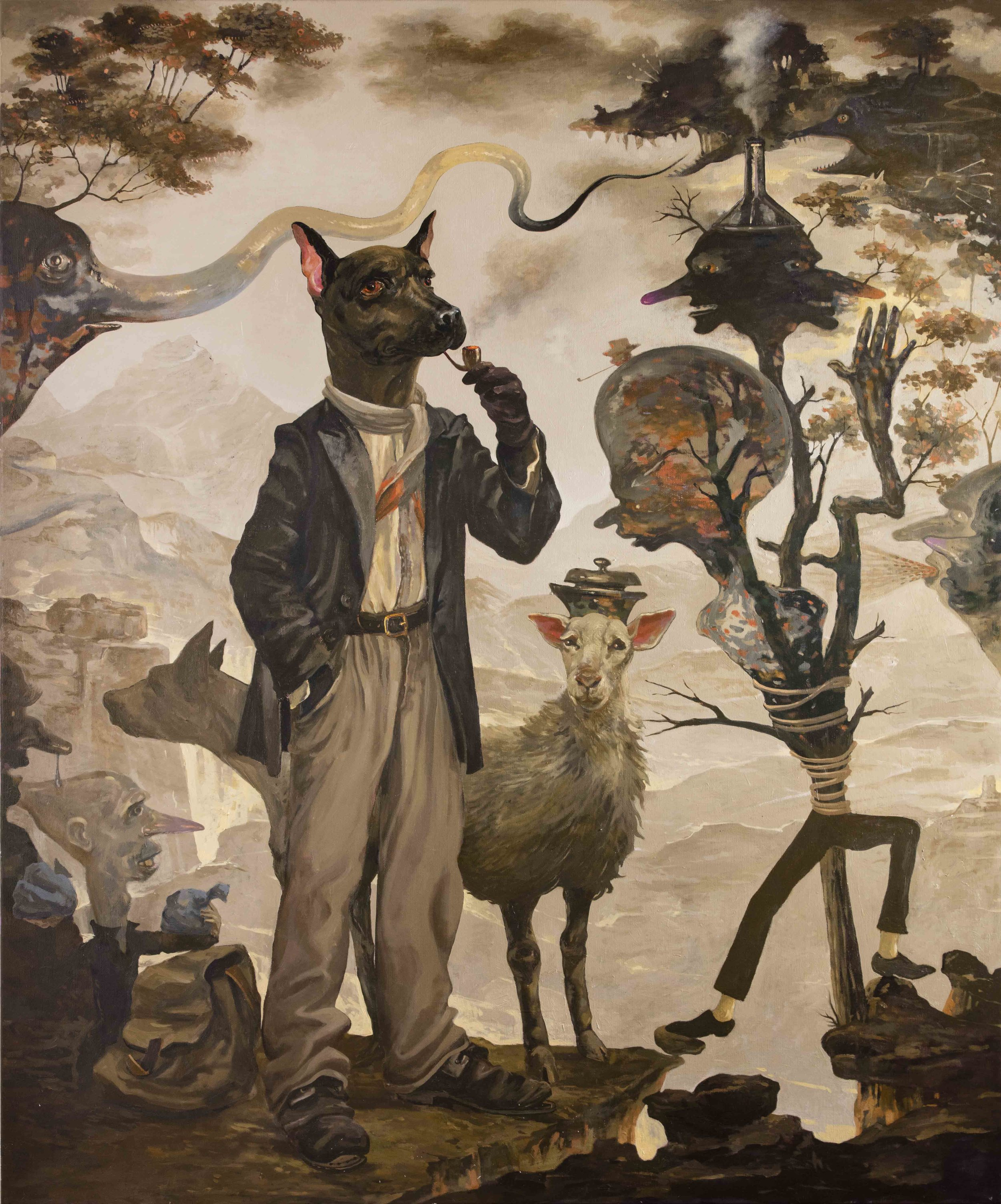 Michael Vale,  Smoking Dog Surrounded by Phantoms,  2008, Oil on linen, 183 x 152cm