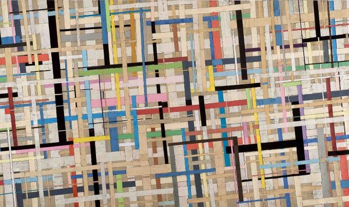 Sam Grigorian,Miles Davis gewidmet, 2008, mixed media, décollage, 181 x 348cm