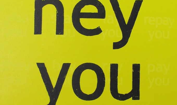 Michael Carolan,  hey you , 2012, acrylic on canvas, 280 x 140cm
