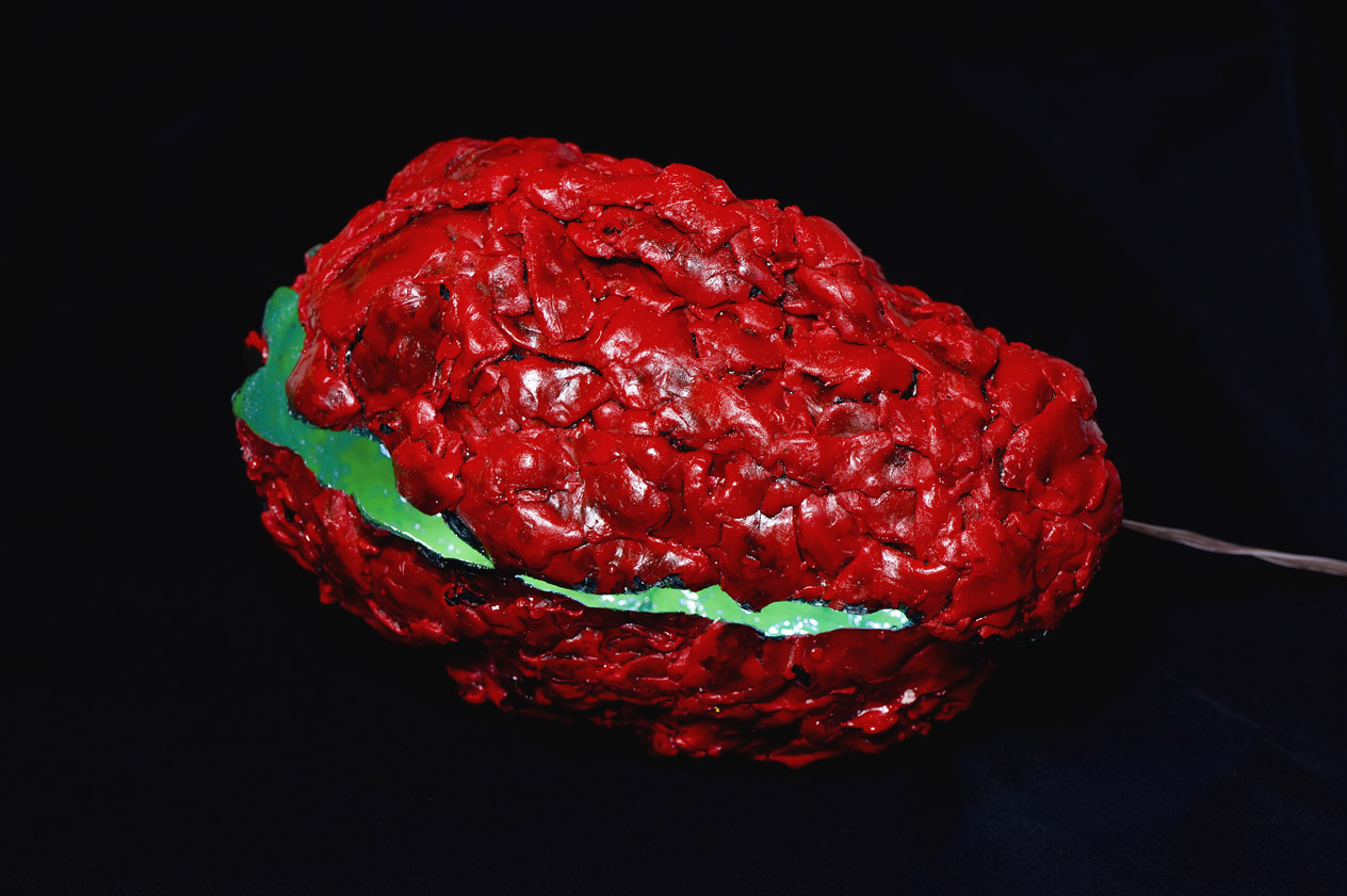 Elisabeth Weissensteiner,  Red Brain-Shell , 2012, polyester resin, fibreglass, pigments, LED light, 25 x 15 x 15cm