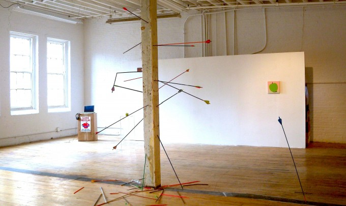 Michael Georgetti,  Arena, Star Gazing , 2010, play dough, aluminium, arrows, rope and tape