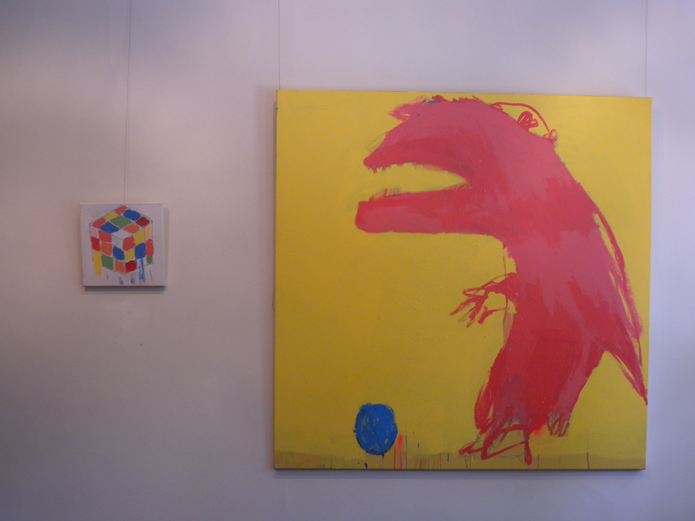 Michael Georgetti,  Monster with Rubik's Cube , 2010, oil pastel, texter and acrylic on canvas