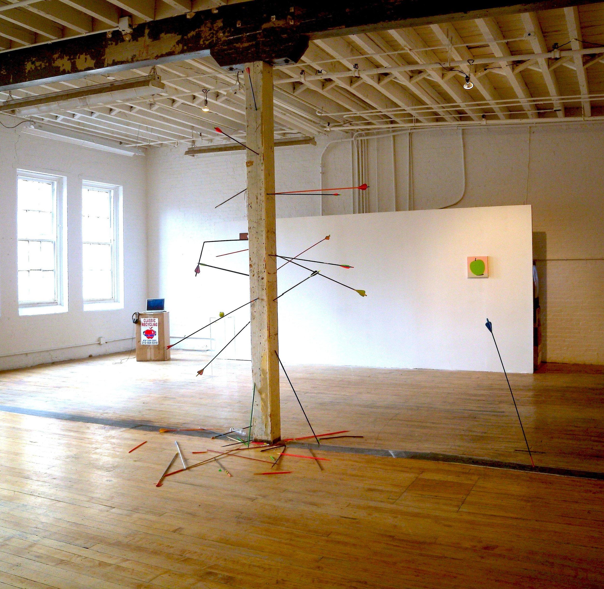 Michael Georgetti,  Arena, Star Gazing,  2010, play dough, aluminium, arrows, rope and tape